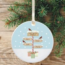 Ceramic Keepsake Personalised Family Christmas Tree Decoration - Signpost Design